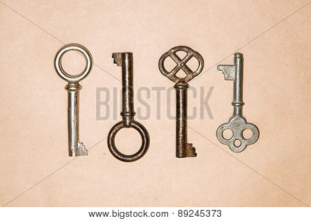 A Lot Vintage Keys From The Locks On Craft Paper