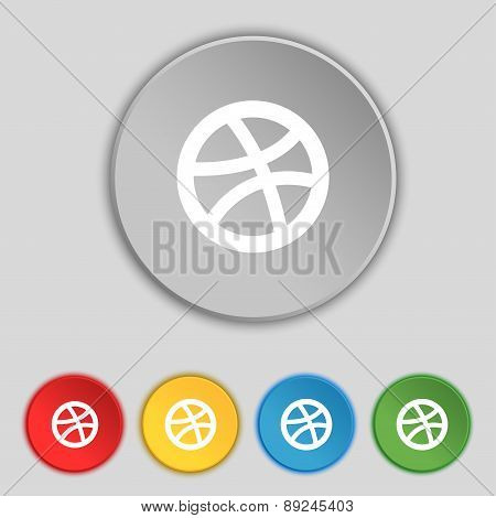 Basketball Icon Sign. Symbol On Five Flat Buttons. Vector