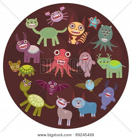 Funny monsters card design. Funny monsters set Big collection on  dark background in the circle.