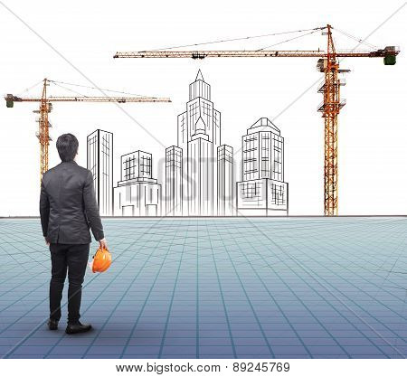 Engineering Man Holding Safety Helmet Standing In Front Of  Modern Building Sketching With  Crane Co