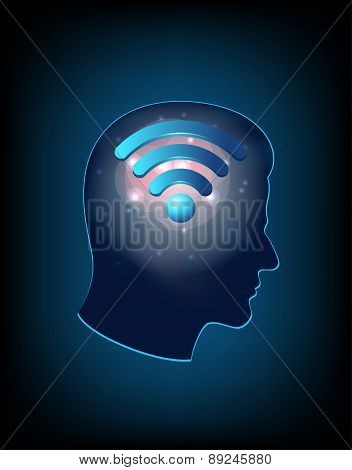 Brain concept with wifi sign