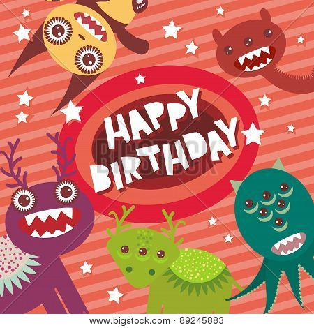 Happy birthday Funny monsters party card design on pink striped background with stars. Vector