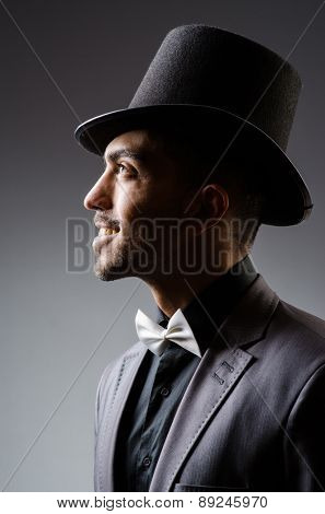 Man with hat in vintage concept