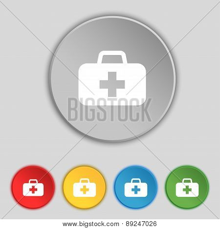 Medicine Chest Icon Sign. Symbol On Five Flat Buttons. Vector