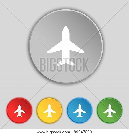 Airplane, Plane, Travel, Flight Icon Sign. Symbol On Five Flat Buttons. Vector