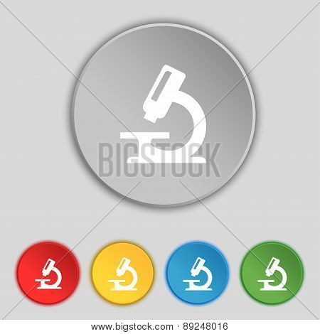 Microscope Icon Sign. Symbol On Five Flat Buttons. Vector