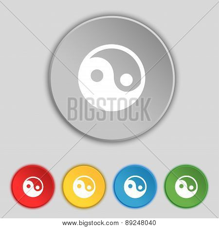 Ying Yang Icon Sign. Symbol On Five Flat Buttons. Vector