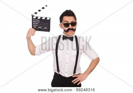 Whiskered man with clapperboard holding isolated on white