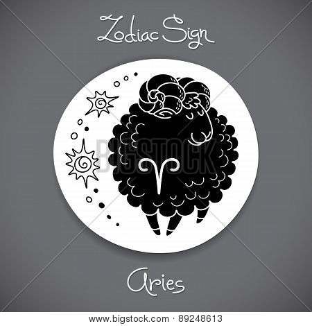 Aries zodiac sign of horoscope circle emblem in cartoon style.