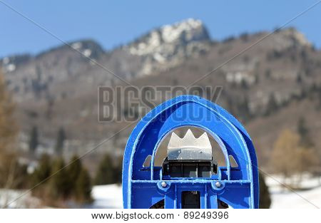 Blue Snowshoes For Excursions On The Snow