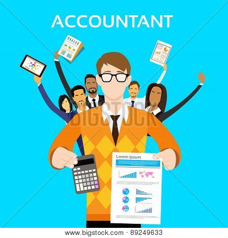 Accountant People Group Team Show Calculator Finance