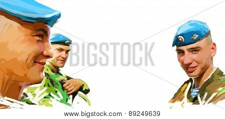 The Russian army. Paratroopers. Illustration