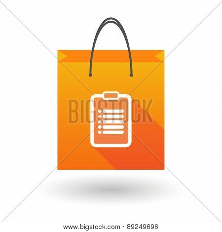 Orange Shopping Bag Icon With A Report Sheet