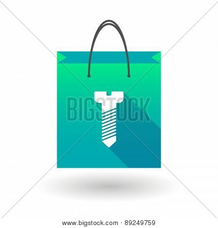 Blue Shopping Bag Icon With A Screw