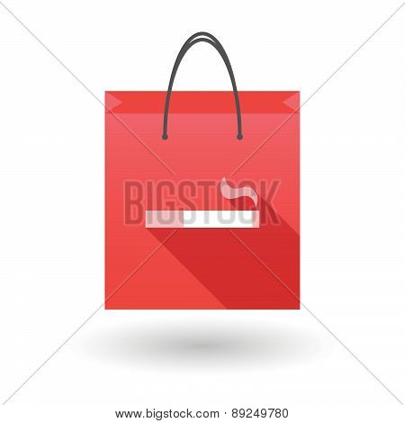 Red Shopping Bag Icon With A Cigarette
