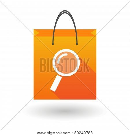 Orange Shopping Bag Icon With A Magnifier