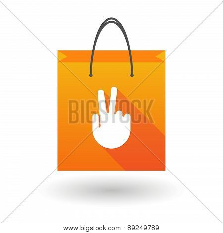 Orange Shopping Bag Icon With A Victory Hand