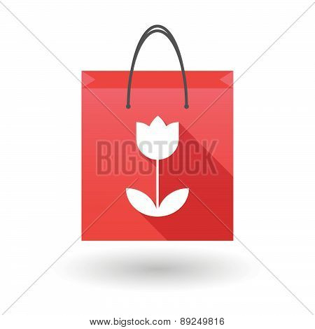 Red Shopping Bag Icon With A Tulip