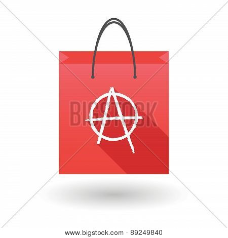 Red Shopping Bag Icon With An Anarchy Sign
