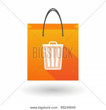 Orange Shopping Bag Icon With A Trash Can