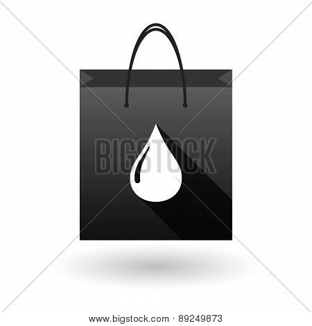 Black Shopping Bag Icon With A Fuel Drop