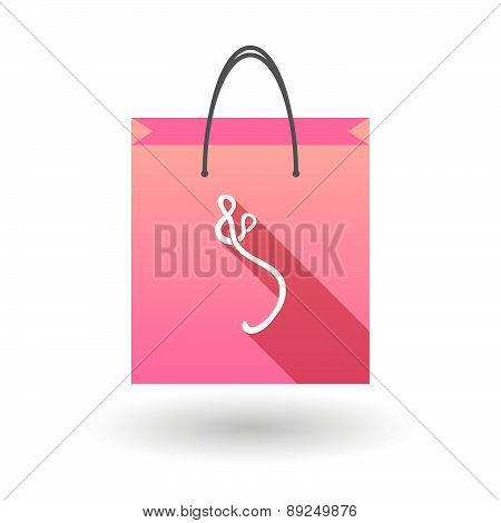 Pink Shopping Bag Icon With An Ebola Sign