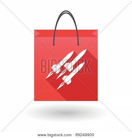 Red Shopping Bag Icon With Missiles