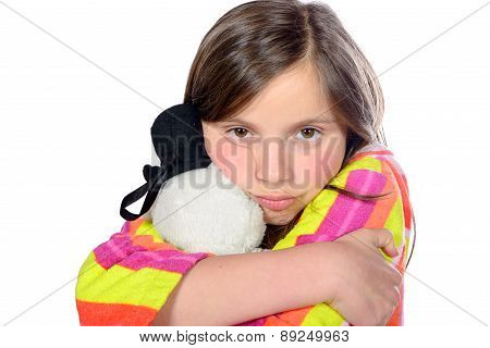 A Little Girl With Her Teddy