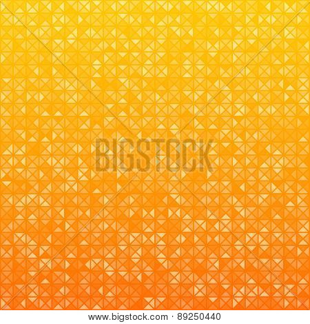 Technology pattern composed of orange triangles. Vector background.