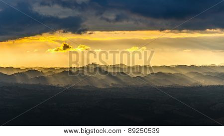 Light Sunset In The Mountains