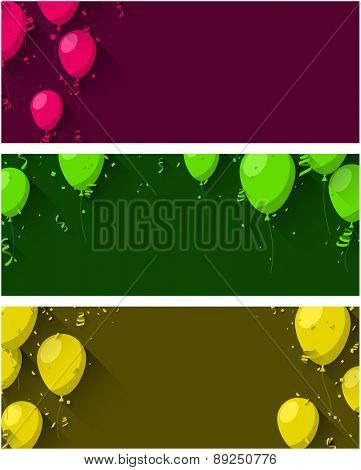 Celebration background with flat balloons and confetti. Vector illustration.