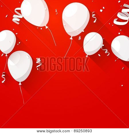 Celebration red background with flat balloons and confetti. Vector illustration.