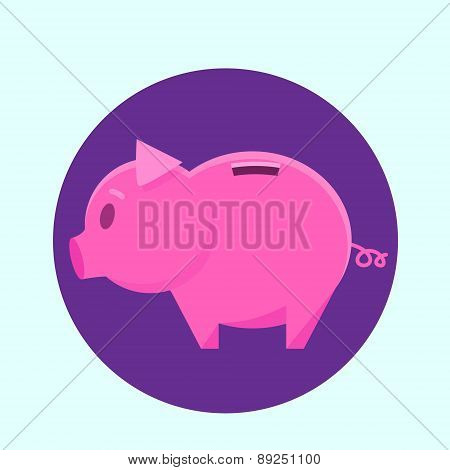 Piggy Bank Ping Circle Icon Flat Vector