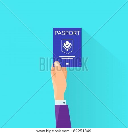Passport Flat Icon Businessman Hand Hold Travel