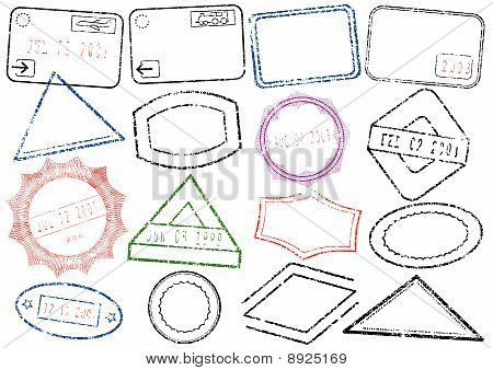 Passport or post stamp vector illustration set.