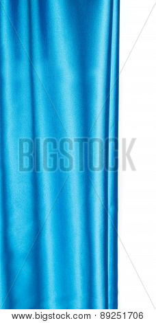 Close up of blue silk. Texture.