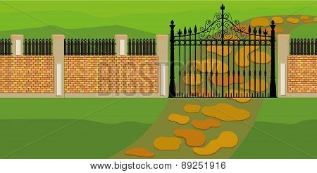 Landscape with a fence and gate