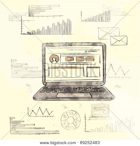 Retro Laptop with Grunge Finance Chart Old Paper