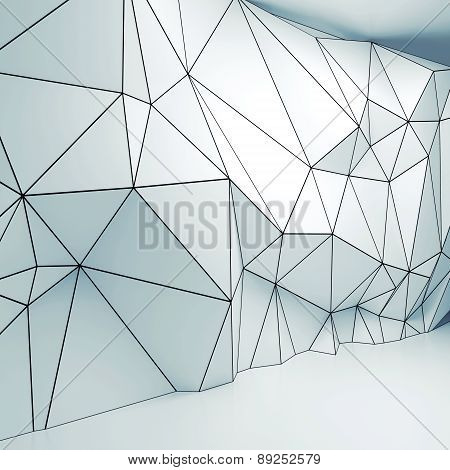 3D Interior With Polygonal Wireframe Relief Pattern