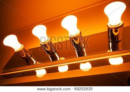 Lamps In A Row, Modern Orange Toned Illumination