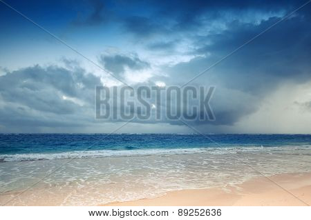 Atlantic Ocean Coast With Dramatic Stormy Sky