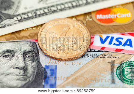 Photo Of Visa And Mastercard Credit Card With American Dollars