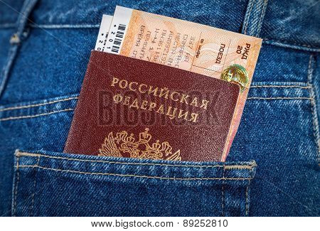 Russian Passport And Train Tickets In The Back Jeans Pocket