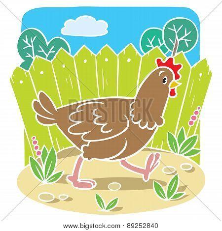 Children vector illustration of funny  chicken
