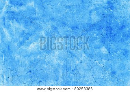 Creative Beautiful Bright Blue Background, Cracks And Scratches On The Concrete. Grungy Concrete Sur