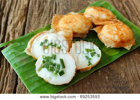 Thai traditional dessert on banana leaf