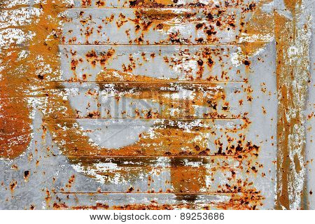 Creative Background Of Rusty Metal With Cracks And Scratches, Carelessly Painted Paint. Grungy Metal