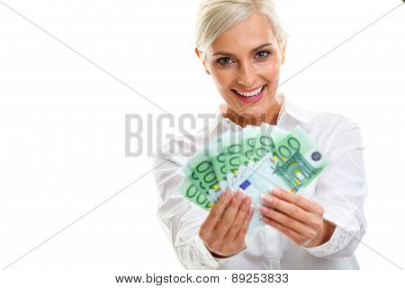 happy young woman holding euro bills