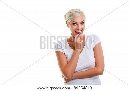blonde woman expression over white
