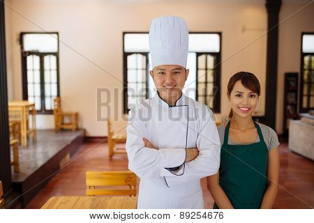 Team of restaurant workers